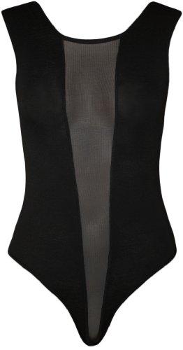 WearAll - Damen schwarze Mesh-Stretch-Trikot ärmellos top Body - schwarzen Design - Schwarz - 36-38