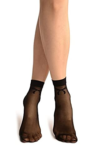 Black With Woven Bow Ankle High Socks - Noir Chaussettes Taille Unique (Bow Calzini)