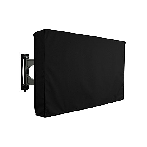 Protezione impermeabile per televisori da esterni, universale per TV LCD, LED, al plasma, compatibile con supporti standard, colore nero, con custodia integrata per riporre il telecomando 22-24 Nero