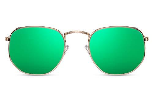 Cheapass Sonnenbrille Hexagonal Gold-en Grün Verspiegelt UV-400 Rund-e Brille Damen Herren