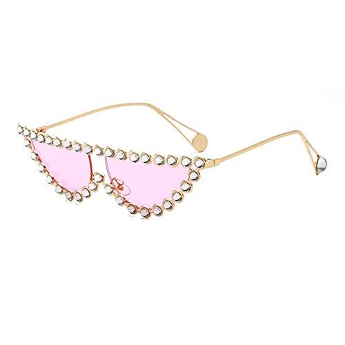 Sonnenbrillen Luxury Brand Designer Crystal Women Transparent Hot Fashion Sunglasses Rhinestone Rays Italian Cat Eye Sun Glasses Gold Pink