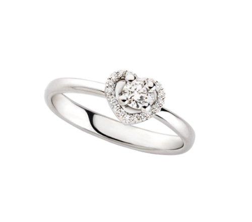 POLELLO Anello a Cuore Oro Bianco e Diamanti Ref. G3041 (Oro Bianco, 15)