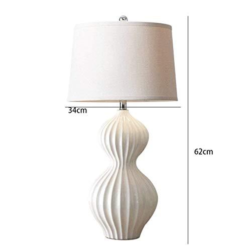AOLI Chinese White Wave Muster Keramik Kürbis Tischlampe Moderne Einfache Wohnzimmer Schlafzimmer Küche Nachttischlampe, H62Cm * W34Cm -
