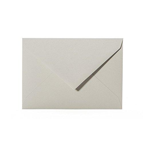 50 hochwertige Briefumschläge C6 114x162 mm mit Spitzlasche, 120g, Farbe: 04 Grau