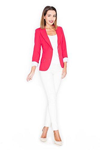 Blazer à la mode, veste tailleur et veste femme en une Katrus Rouge