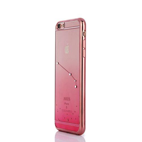 Coque pour iPhone 6/6S/6plus/6S Plus, aibousa® [Rose Astrologie] superweich, fine, diamant cristal, 12couleurs transition, transparent, Zwillinge, iPhone 6/6S (4.7'') Widder