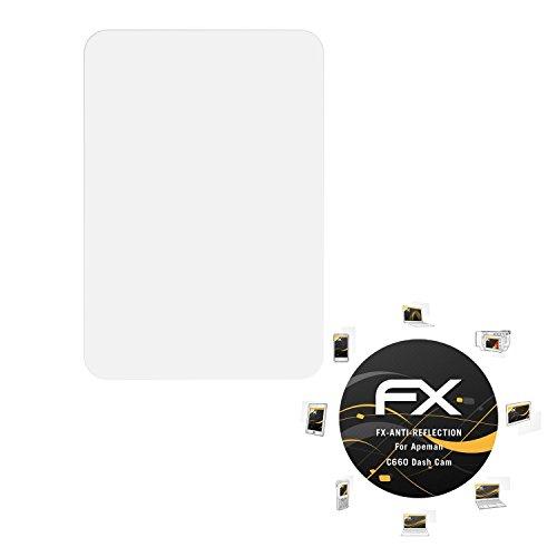 atFoliX Panzerfolie kompatibel mit Apeman C660 Dash Cam Schutzfolie, entspiegelnde und stoßdämpfende FX Folie (3X)