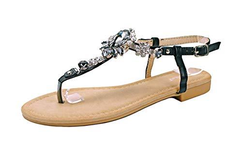 Schwarze Flip-flops Mit Strass-steinen (Zehentrenner Sandalen Strass Schuhe Riemchensandalen Sandaletten Strandschuhe Flip-Flop flach, Damen 0009927 (38, Schwarz (Modell 3)))