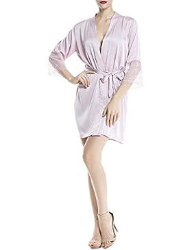 iB-iP Donna Pizzo A Picco Lungo Chiarore Manica Elegante Vesta Mini Accappatoio