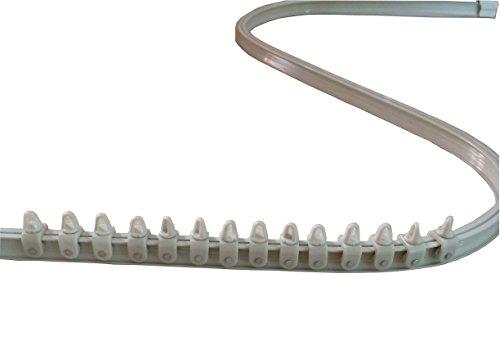 Mini-Rail de Rideau Cintrable Alu - Set Complet et Accessoires (200 cm, Blanc)
