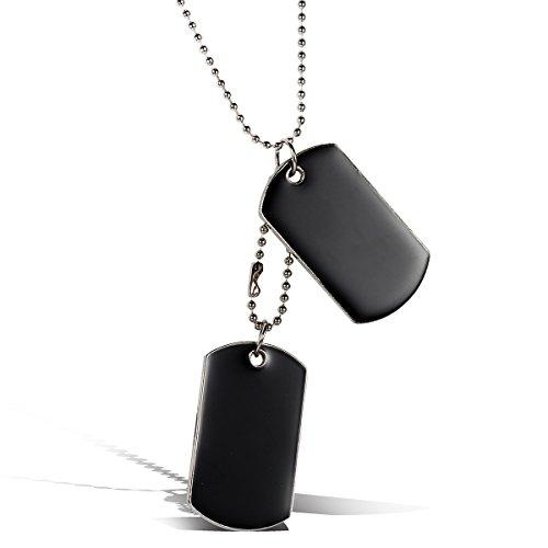JewelryWe Schmuck Herren Halskette, 2 Militärischen Erkennungsmarken Armee Stil Dog Tag Anhänger mit 80cm Kette, Schwarz Silber