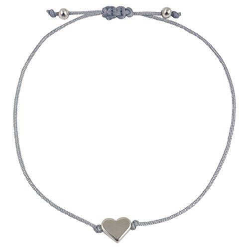 Nilian Damen Armband – Silber Herz Armband – Filigranes Frauen Armband - perfekt geeignet als Geschenk – Hochwertiges Textil Armband mit Herzanhänger (grau-silber)