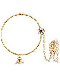Saraa Execlusive Wedding Collection Gold Plated Flower Designed High Quality Multi-Color Copper Nose Ring for Women/Girls