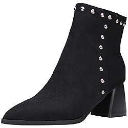 BIGTREE Botines para Mujer, Botas Estilo calcetín en Gamuza Suave con Tachuelas, Tacones de Bloques, Botas de Nieve otoño Invierno con Forro de Piel Negro Rojo