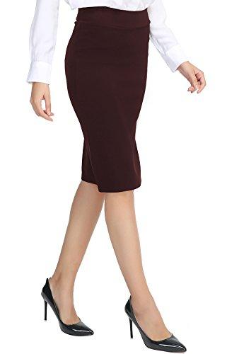 Damen Midi Rock Stretch Figurbetont Business Bleistift Röcke Cocoa braun