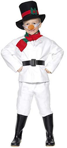 Smiffys, Kinder Jungen Schneemann Kostüm, Oberteil, Hose, Hut, Schal, Gürtel und Nase, Größe: L, 30056