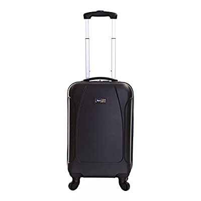 Karabar Evora 55 cm Hard Suitcase, 10 Years Warranty! (55 cm, Obsidian Black) - inexpensive UK light shop.