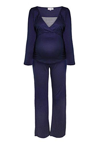 Gestreifter Stillpyjama-Schlafanzug-Umstandspyjama für Damen, Leichte Nachtwäsche für den Sommer, Langarm in Maritim-Design, in Weiß, Blau, Grau, HERZMUTTER (2100) (XL, Blau/Weiß) (Design Armee)