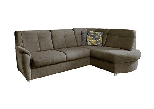 Cavadore Ecksofa Sunuma mit Ottomanen rechts / Moderne Eckcouch mit Schlaffunktion und Bettkasten braun / Größe: 246 x 91 x 176 cm (BxHxT) / Strukturstoff in braun