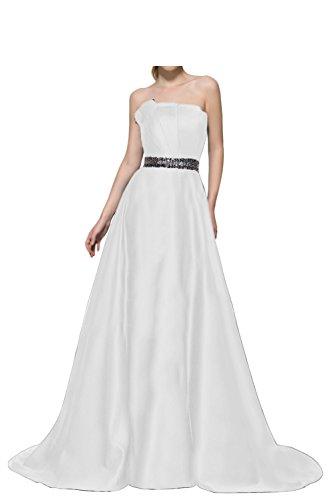 Gorgeous Bride Elegant Traegerlos A-Linie Satin Lang Schleppe Abendkleider Cocktailkleid Ballkleider Weiß