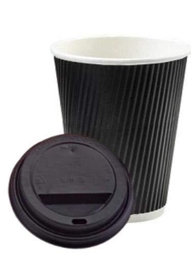 We Can Quelle It - 400 X 8oz Schwarz Welle Einweg- Heiz Zum Mitnehmen Kaffeetassen mit Schwarz Sip durch Deckel - Bng Natürlichen