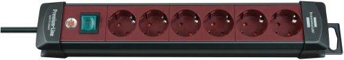 Brennenstuhl Premium-Line, Steckdosenleiste 6-fach (Steckerleiste mit Schalter und 3m Kabel - 45° Winkel der Schutzkontakt-Steckdosen) Farbe: bordeaux