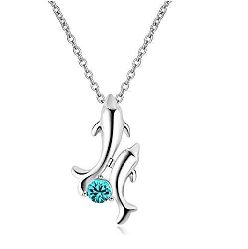 MYYQ 925 Sterling Silber Damen Kette mit Anhänger mit, Mode Halskette Zubehör Exquisite Twin Delphin Anhänger mit Diamant Schmuck