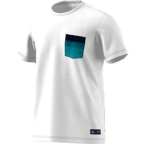 adidas Herren Parley Pocket T-Shirt, White, L (Tennis-shirt Adidas)