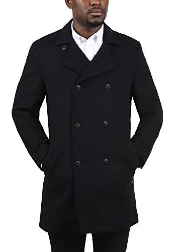 !Solid Harvey Herren Winter Mantel Wollmantel Lange Winterjacke mit Doppelreihiger Knopfleiste, Größe:M, Farbe:Black (9000) - 2