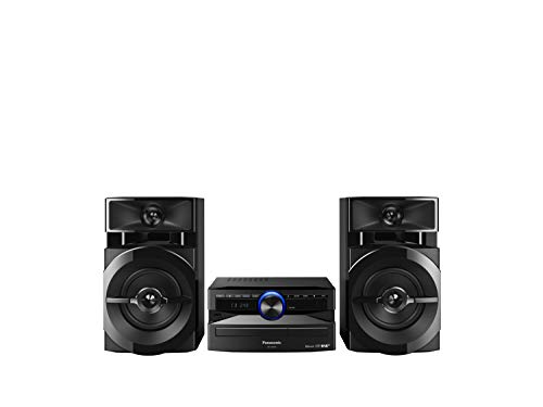 Panasonic Mini-System, 300 W, 2-Wege-Lautsprecher, Woofer:13 cm, CD-Player, CD-R/R W, Bluetooth, USB, DAB/DAB +, 30 FM/15AM RDS, AUX, Audio-Qualität, blaue Beleuchtung, Schwarz FM/AM RDS-Radio blau