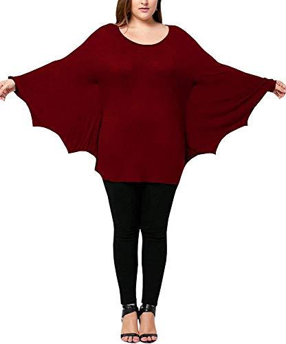 Ybenlover Damen Cosplay Tier T-Shirt Kostüm Fledermaus Ärmel Große Größen ()