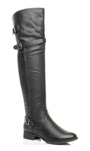 Donna tacco basso stivali cavallerizzo metà coscia sopra ginocchio taglia 5 38