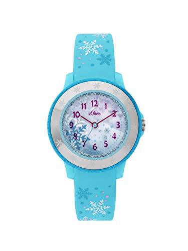 s.Oliver Mädchen Analog Quarz Uhr mit Silikon Armband SO-3913-PQ