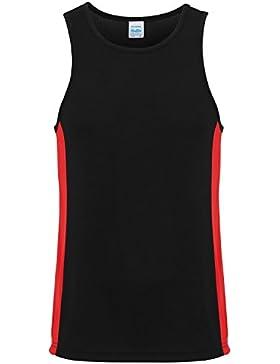 AWDis Just Cool - Camiseta sin mangas/tirantes de deporte con franjas laterales Hombre/Caballero - Playa/Piscina