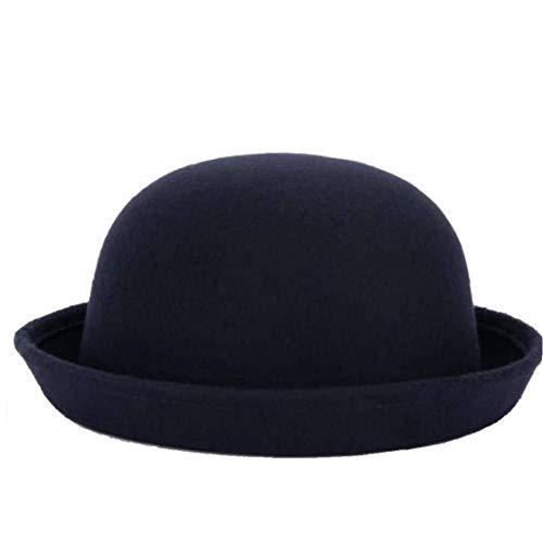 Kinder Porkpie Bowler Hats Roll-Up Brim Panama Cap Vintage Style Fedora-Hut Für Mädchen Jungen (Derbyhut Schwarzen Filz)