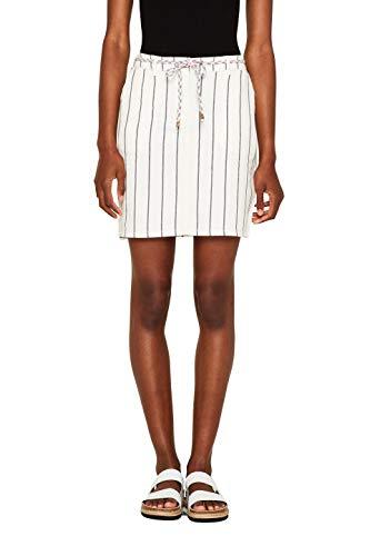 Damen Leinen (ESPRIT Damen 049EE1D011 Rock, Weiß (Off White 110), Herstellergröße: 40)