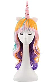 Wig Unicorn Horn Headband Rainbow Wig White Ears Long Curly Hair Wigs for Kids, Girls, Teens and Women Costumes Party Hair A