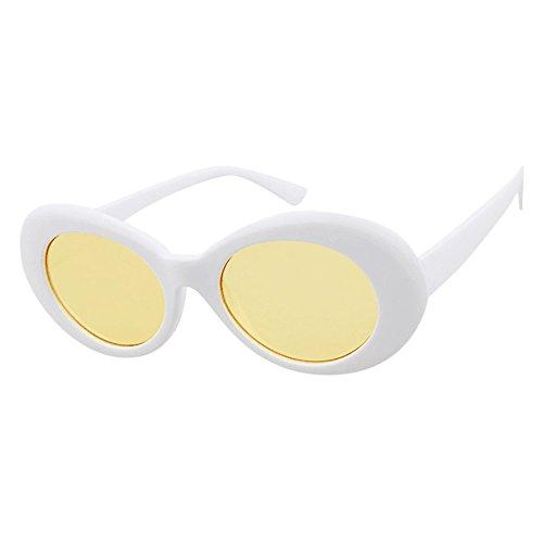 Zilosconcy Sonnenbrillen Runde Rahmen Sonnenbrillen Sonnenbrillen weiße Rahmen gelbe Tabletten Retro Vintage Clout Goggles Unisex Sonnenbrille Rapper Oval Shades Grunge ()