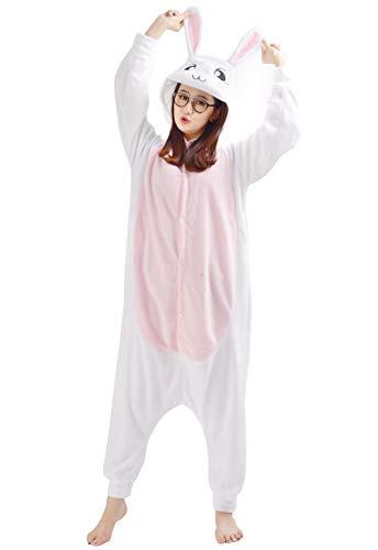 Unisex Kigurumi Jumpsuit Tier Pyjamas Kostüm Fasching Onesie Damen Herren Karneval Cosplay Nachtwäsche, Weiß Hase