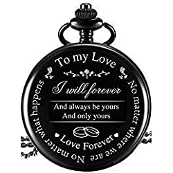 Reloj de Bolsillo Regalo a Marido Esposa Novio Novia, Reloj de Bolsillo Grabado To My Love - No Matter Where We Are, No Matter What Happens, Love Forever (Regalo de Amor, Esfera Blanca)
