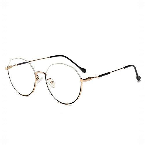 UICICI Retro Unregelmäßiger Halbrahmen Brillengestell Klassischer Halbrahmen Halbrandlose Brillenglas (Farbe : Gold/Black)