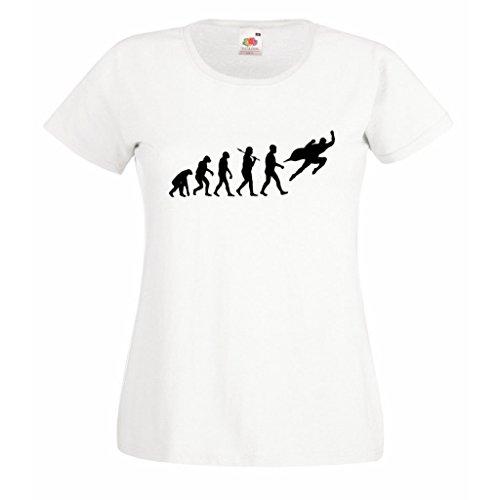 1StopShops Evolution Superheld Damen Weiß T-Shirt mit Schwarzem Print Gr. X-Large, Weiß