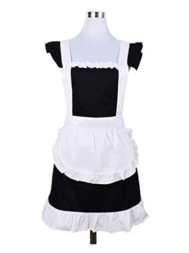 Cupcake Mädchen Kostüm Das - Cute Sweet Retro Rüschen Schürzen für Mädchen Damen-Küche Kochen Reinigung Dienstmädchen Kostüm mit Tasche (schwarz und weiß)