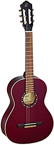 Ortega Guitars R121-3/4WR Family Series 3/4 Body Size Nylon 6-String Guitar with Spruce Top, Mahogany Body, Wine Red