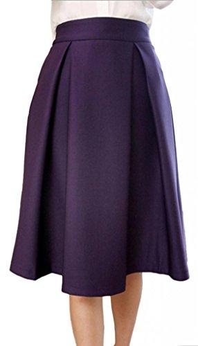 Eyekepper Jupe longueur genou femme demoiselle taille haute de belle couleur fete dance party cocktail Violet