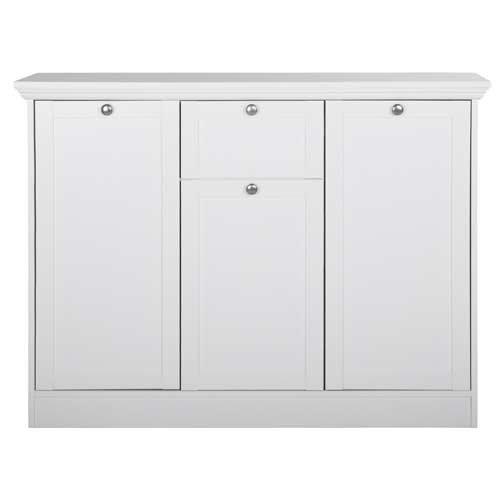 Kommode in weiß, mit 2 großen Türen, 1 kleine Tür, 1 Schubkasten, 1 großer/kleiner E-Boden, Maße: B/H/T ca. 120/90/40 cm - 3