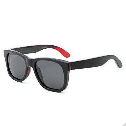 Zbertx Männer/Frauen Holz Sonnenbrillen Skateboard Holz Polarisierte Sonnenbrille Hohe Qualität,Schwarz