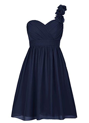 Dresstells, Épaule asymétrique robe courte de demoiselle d'honneur avec fleur, col en cœur Marine