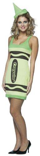 Adult Female Crayola Crayon Fancy Tank Dress Yellow Green Waist: 27
