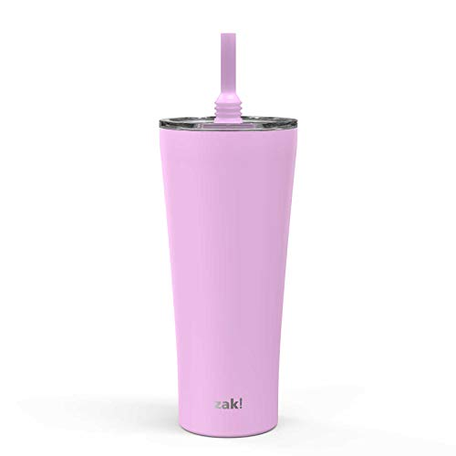Preisvergleich Produktbild Zak Designs Alfalfa Stainless Steel Vacuum Insulated Double Wall Tumbler with Flexible Silicone Straw,  Travel Tumbler With Splash Proof Lid – Keeps Drinks Cold (20oz,  Lilac)